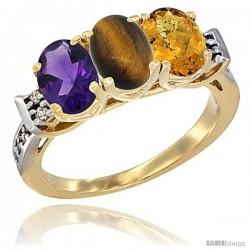10K Yellow Gold Natural Amethyst, Tiger Eye & Whisky Quartz Ring 3-Stone Oval 7x5 mm Diamond Accent