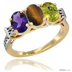 10K Yellow Gold Natural Amethyst, Tiger Eye & Lemon Quartz Ring 3-Stone Oval 7x5 mm Diamond Accent