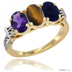10K Yellow Gold Natural Amethyst, Tiger Eye & Lapis Ring 3-Stone Oval 7x5 mm Diamond Accent
