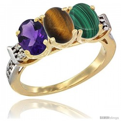 10K Yellow Gold Natural Amethyst, Tiger Eye & Malachite Ring 3-Stone Oval 7x5 mm Diamond Accent