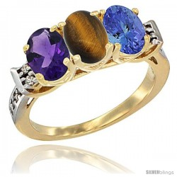 10K Yellow Gold Natural Amethyst, Tiger Eye & Tanzanite Ring 3-Stone Oval 7x5 mm Diamond Accent