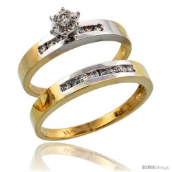 14k Gold 2-Piece Diamond Ring Set w/ Rhodium Accent ( Engagement Ring & Man's Wedding Band ), w/ 0.31 Carat Brilliant Cut