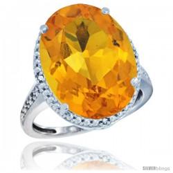 14k White Gold Diamond Citrine Ring 13.56 Carat Oval Shape 18x13 mm, 3/4 in (20mm) wide