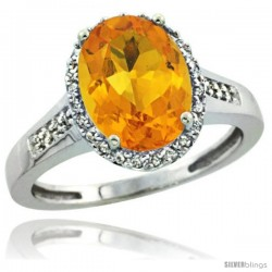 14k White Gold Diamond Citrine Ring 2.4 ct Oval Stone 10x8 mm, 1/2 in wide