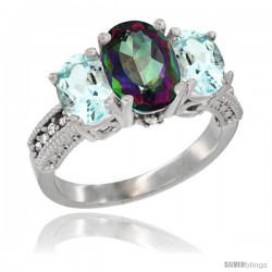 10K White Gold Ladies Natural Mystic Topaz Oval 3 Stone Ring with Aquamarine Sides Diamond Accent