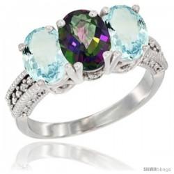 10K White Gold Natural Mystic Topaz & Aquamarine Sides Ring 3-Stone Oval 7x5 mm Diamond Accent
