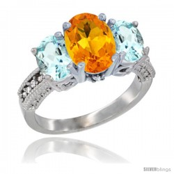 10K White Gold Ladies Natural Citrine Oval 3 Stone Ring with Aquamarine Sides Diamond Accent