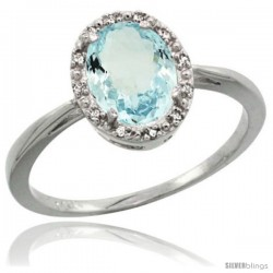 10k White Gold Aquamarine Diamond Halo Ring 1.17 Carat 8X6 mm Oval Shape, 1/2 in wide