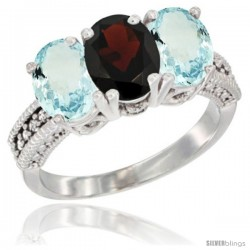 10K White Gold Natural Garnet & Aquamarine Sides Ring 3-Stone Oval 7x5 mm Diamond Accent