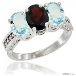 10K White Gold Natural Garnet & Aquamarine Sides Ring 3-Stone Oval 7x5 mm Diamond Accent
