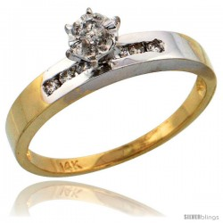 14k Gold Diamond Engagement Ring w/ Rhodium Accent, w/ 0.17 Carat Brilliant Cut Diamonds, 1/8 in. (3mm) wide