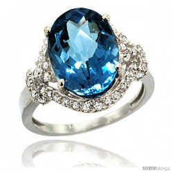 14k White Gold Natural Swiss Blue Topaz Ring Oval 14x10 Diamond Halo, 3/4 in wide