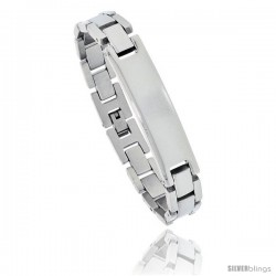 Stainless Steel High Polished Men's ID Bracelet, 1/2 in wide, 8.25 in