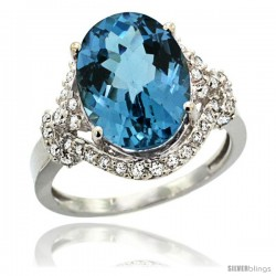 14k White Gold Natural London Blue Topaz Ring Oval 14x10 Diamond Halo, 3/4 in wide