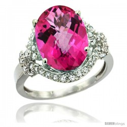 14k White Gold Natural Pink Topaz Ring Oval 14x10 Diamond Halo, 3/4 in wide