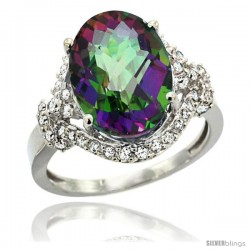 14k White Gold Natural Mystic Topaz Ring Oval 14x10 Diamond Halo, 3/4 in wide