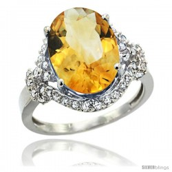 14k White Gold Natural Citrine Ring Oval 14x10 Diamond Halo, 3/4 in wide