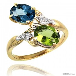 14k Gold ( 8x6 mm ) Double Stone Engagement London Blue Topaz & Peridot Ring w/ 0.04 Carat Brilliant Cut Diamonds & 2.34 Carats