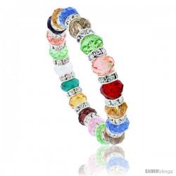 7 in. Multi Color Faceted Glass Crystal Bracelet on Elastic Nylon Strand ( Clear, Ruby, Citrine, Blue Topaz, Smoky Topaz