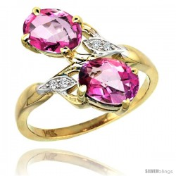 14k Gold ( 8x6 mm ) Double Stone Engagement Pink Topaz Ring w/ 0.04 Carat Brilliant Cut Diamonds & 2.34 Carats Oval Cut Stones