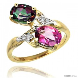 14k Gold ( 8x6 mm ) Double Stone Engagement Pink & Mystic Topaz Ring w/ 0.04 Carat Brilliant Cut Diamonds & 2.34 Carats Oval