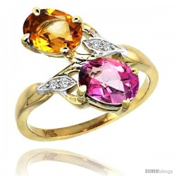 14k Gold ( 8x6 mm ) Double Stone Engagement Pink Topaz & Citrine Ring w/ 0.04 Carat Brilliant Cut Diamonds & 2.34 Carats Oval