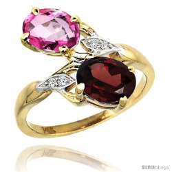 14k Gold ( 8x6 mm ) Double Stone Engagement Pink Topaz & Garnet Ring w/ 0.04 Carat Brilliant Cut Diamonds & 2.34 Carats Oval