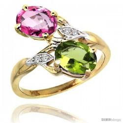 14k Gold ( 8x6 mm ) Double Stone Engagement Pink Topaz & Peridot Ring w/ 0.04 Carat Brilliant Cut Diamonds & 2.34 Carats Oval