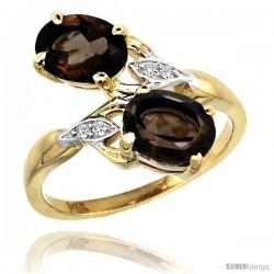 14k Gold ( 8x6 mm ) Double Stone Engagement Smoky Topaz Ring w/ 0.04 Carat Brilliant Cut Diamonds & 2.34 Carats Oval Cut