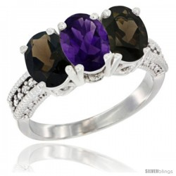 10K White Gold Natural Amethyst & Smoky Topaz Sides Ring 3-Stone Oval 7x5 mm Diamond Accent