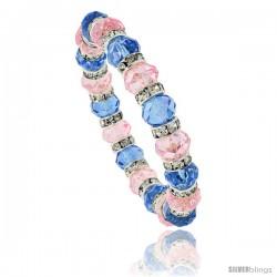 7 in Multi Color Faceted Glass Crystal Bracelet on Elastic Nylon Strand ( Blue Topaz & Pink Tourmaline Color ), 3/8 in