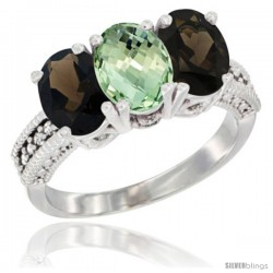 10K White Gold Natural Green Amethyst & Smoky Topaz Sides Ring 3-Stone Oval 7x5 mm Diamond Accent
