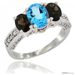 10K White Gold Ladies Oval Natural Swiss Blue Topaz 3-Stone Ring with Smoky Topaz Sides Diamond Accent