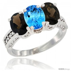 10K White Gold Natural Swiss Blue Topaz & Smoky Topaz Sides Ring 3-Stone Oval 7x5 mm Diamond Accent
