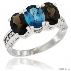 10K White Gold Natural London Blue Topaz & Smoky Topaz Sides Ring 3-Stone Oval 7x5 mm Diamond Accent