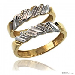 Gold Plated Sterling Silver Diamond 2 Piece Wedding Ring Set His 5mm & Hers 5mm