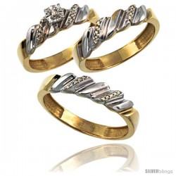 Gold Plated Sterling Silver Diamond Trio Wedding Ring Set His 5mm & Hers 5mm 0.20 cttw Ladies 5-10 Men 8 to 14