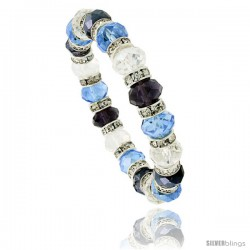 7 in Multi Color Faceted Glass Crystal Bracelet on Elastic Nylon Strand ( Clear, Blue Topaz & Amethyst Color ), 3/8 in