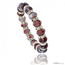 7 in. Amethyst Color Faceted Glass Crystal Bracelet on Elastic Nylon Strand, 3/8 in. (10 mm) wide