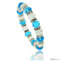 7 in. Clear & Aquamarine Color Faceted Glass Crystal Bracelet on Elastic Nylon Strand, 3/8 in. (10 mm) wide