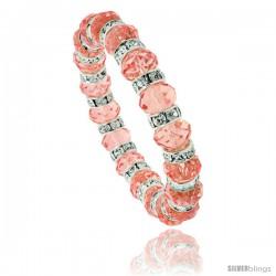 7 in. Pink Topaz Color Faceted Glass Crystal Bracelet on Elastic Nylon Strand, 3/8 in. (10 mm) wide
