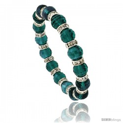 7 in. Emerald Color Faceted Glass Crystal Bracelet on Elastic Nylon Strand, 3/8 in. (10 mm) wide -Style Akbgg25