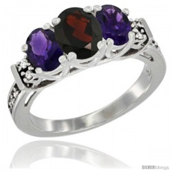 14K White Gold Natural Garnet & Amethyst Ring 3-Stone Oval with Diamond Accent
