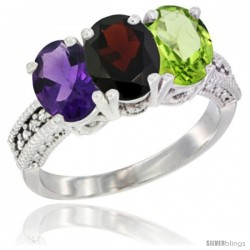 14K White Gold Natural Amethyst, Garnet & Peridot Ring 3-Stone 7x5 mm Oval Diamond Accent