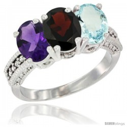 14K White Gold Natural Amethyst, Garnet & Aquamarine Ring 3-Stone 7x5 mm Oval Diamond Accent