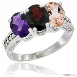 14K White Gold Natural Amethyst, Garnet & Morganite Ring 3-Stone 7x5 mm Oval Diamond Accent