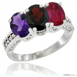 14K White Gold Natural Amethyst, Garnet & Ruby Ring 3-Stone 7x5 mm Oval Diamond Accent
