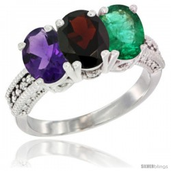 14K White Gold Natural Amethyst, Garnet & Emerald Ring 3-Stone 7x5 mm Oval Diamond Accent