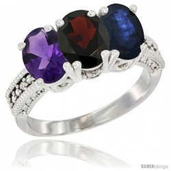 14K White Gold Natural Amethyst, Garnet & Blue Sapphire Ring 3-Stone 7x5 mm Oval Diamond Accent