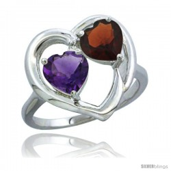 14k White Gold 2-Stone Heart Ring 6mm Natural Amethyst & Garnet Diamond Accent